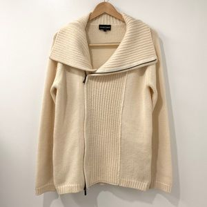 Emporio Armani cream wool cardigan sweater 46